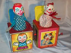 2 Vintage Jack in the Box 1971 and 1953 Circus Nursery, Jack In The Box, Send In The Clowns, Seven Wonders, Weird And Wonderful, Antique Toys, Children, Kids, Nostalgia