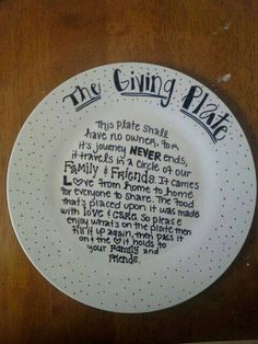 the giving plate - write on a plate with a #Sharpie and bake at 350F for 20 mins to make permanent #givingplate #NiftyIdeas