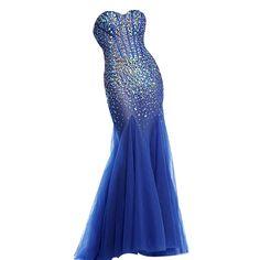 Vilavi Femme Sirène de bretelles d'amoureux longues Tulle perles de cristal Robes de bal: Amazon.fr: Vêtements et accessoires