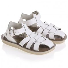 White Leather Salt Water Sandals with Buckles (Shark)