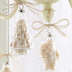 Christmas ornaments filled with sand and shells.  Perfect for your nautical holiday theme.  www.606river.com