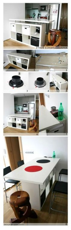 [Inspiration] Ikea Hack : La gamme KALLAX Today I wanted to introduce you to the Ikea Hack. This consists of taking an Ikea piece of furniture (so inexpensive at first) and… Ikea Hackers, Diy Kitchen Storage, Diy Storage, Table Storage, Kitchen Hacks, Storage Ideas, Storage Room, Kitchen Shelves, Decorating Kitchen