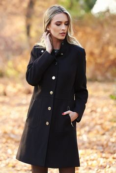 Black basic coat slightly elastic fabric with inside lining with pockets, with pockets, inside lining, long sleeves, with buttons Line, November, Buttons, Pockets, Warm, Coat, Long Sleeve, Sleeves