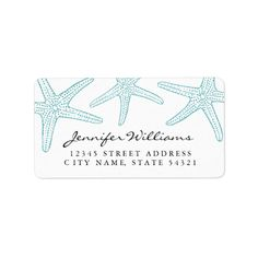 Turquoise Starfish Address Label