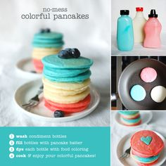 How cute is this idea! Clean out used squirt bottles, fill each with pancake batter, then dye each bottle separately! You can make tie-dye pancakes, stack different colors or even add different flavors to each bottle! #breakfast #recipes #cooking