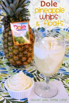 {Dessert Now, Dinner Later!} Dole Pineapple Whips & Floats - Make your own pineapple ice cream & floats at home!  Easy to make with or without an ice cream maker.  A delicious & cool treat for the summertime.  #Disneyland #Dole #icecream