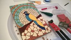 Barcelona Mosaic Workshop: Mis trabajos. Mosaic bird. Pajaro de mosaico.