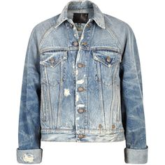 R13 Trucker Cropped Distressed Denim Jacket - Size S (€940) ❤ liked on Polyvore featuring outerwear, jackets, cropped jacket, blue jackets, blue cropped jacket, distressed denim jacket and distressed jacket