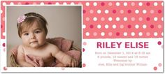 Dotted Debut - Studio Basics: Birth Announcements - Multiple Blessings - Strawberry Pink #baby