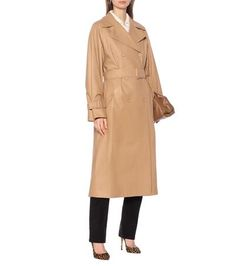 This beige coat from Loro Piana is an investment piece that you will buy now and love forever. This Italian-crafted design has been cut from supple calf leather to a double-breasted silhouette with wide, notched lapels and a . Faux Shearling Coat, Suede Coat, Leather Trench Coat, Wool Coat, Skinny Leather Pants, Leather Jacket With Hood, Cropped Leather Jacket, Leather Jumpsuit, Leather Blazer