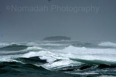 Shipwreck in the mist of a rough ocean.
