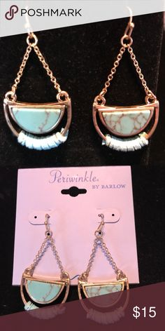 Periwinkle Turquoise Drop Earrings NWT! Lovely faux Turquoise, lightweight and with gold hardware. No trades or lowball offers please. Periwinkle by Barlow Jewelry Earrings