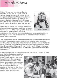 essay on mother teresa Grade 6 Reading Lesson 11 Biographies - Mother Teresa Reading Comprehension Activities, Reading Worksheets, Reading Fluency, Reading Passages, English Stories For Kids, English Story, English Lessons, Learn English, Mother Teresa Essay
