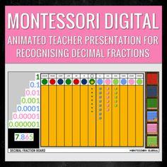 Montessori Digital Decimal Fraction Board | Distance Learning | PowerPoint Slide Montessori Math, Montessori Elementary, Elementary Teacher, Multiplication Facts, Fractions, Animated Teacher, Homeschool, Presentation, Student