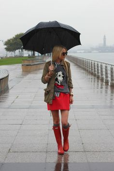 Red skirt and rain boots