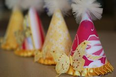 No Sew Fabric Covered Birthday Party Hat Tutorial DIY Project: How to Make a Fabric Covered Party Hat Diy Party Hats, Birthday Party Hats, Diy Birthday, First Birthday Parties, First Birthdays, Birthday Ideas, Birthday Tiara, Fancy Party, Mermaid Birthday