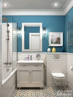 Fürdőszoba - kék falszín, fehér csempe, fürdőkád, épített polcok