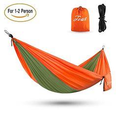 Touz Double (2-Person) Parachute Lightweight Portable Nylon Fabric Travel Camping Hiking Hammock(Army Green/Orange)