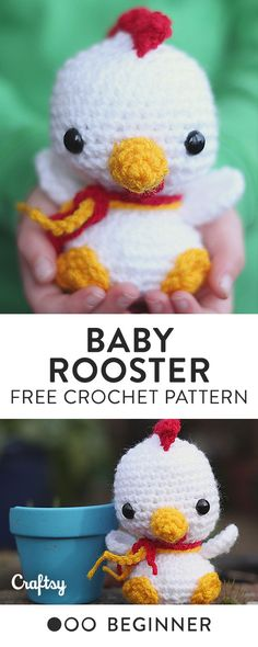 This little rooster is the perfect gift for your little one. Fitting in the palm of their hand, baby rooster can go anywhere and everywhere with them. Get the free beginner crochet pattern at Craftsy!