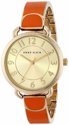 Anne Klein Women's AK/1606ORGB Gold-Tone Easy-to-Read Dial Orange Bangle Watch