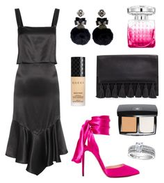 """""""A Pop of Pink"""" by tasha-m-e ❤ liked on Polyvore featuring Christian Louboutin, Givenchy, Rebecca Minkoff, Gucci, Chanel, Jimmy Choo, BERRICLE and Ranjana Khan"""
