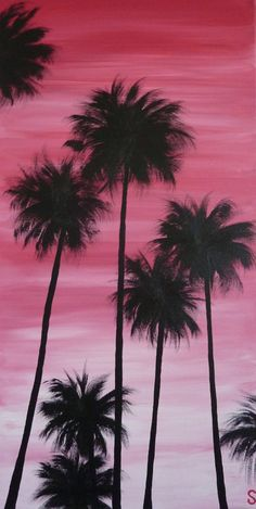 Sam McAleese - Sunset Palms - Original Handpainted Acrylic Painting on Canvas on Etsy, $130.00 AUD