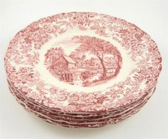 Johnson Bros England Mill Stream Pink Transferware Love this set--want to get the plates and a tea set