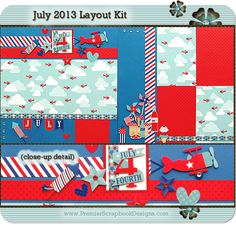 www.premierscrapbookdesigns.com JULY 2013 scrapbooking layout kit featuring Doodlebug Designs (complete with instructions) by Premier Scrapbook Designs (featured at scrapclubs.com)