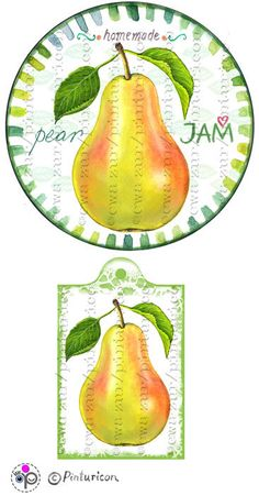 Circle jam label pear jam label printable mason jar by Pinturicon