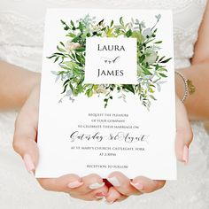 Greenery Wedding Invitations Green Wreath Eucalyptus Wreath Affiliate Link #wedding #invites #summer #summerwedding #etsy