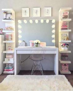 125 Amazing Teen Girl Bedroom Decor Ideas - Page 2 of 2 - Kyleigh's New Room - Sala Glam, Vanity Room, Closet Vanity, Closet Mirror, Corner Vanity, Glam Room, Makeup Rooms, Room Goals, Dream Rooms