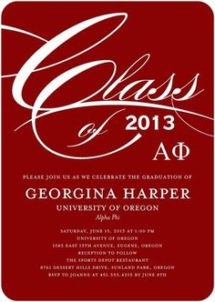 Alpha Phi Graduation Announcements from Tiny Prints
