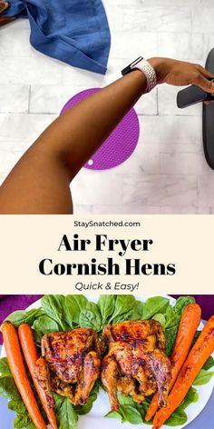 These Air Fryer Juicy Cornish Hens are cooked fresh or frozen with plenty of herbs and spices for full flavor. These mini rotisserie chickens are great for any dinner or holiday main dish. Air Fryer Dinner Recipes, Air Fry Recipes, Air Fryer Recipes Easy, Low Carb Recipes, Cooking Recipes, Healthy Recipes, Yummy Recipes, Meal Prep Guide, Cornish Hens