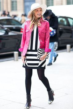 Tendencias primavera 2013 rayas stripes blanco y negro - Street style - Par�s