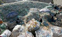 Workers sort plastic bottles at a recycling centre in Ningbo, Zhejiang province