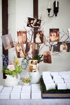 A family tree (literally) decoration of past family wedding photos for the seating table - such a beautiful idea! Get craft supplies at Walgreens.com.