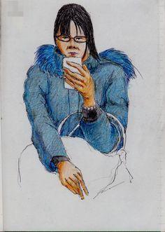青いコートのお姉さん(通勤電車でスケッチ)This is a woman of sketch wearing a blue coat. It drew in a commuter train.