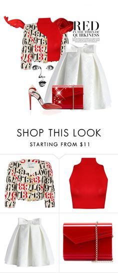 """""""Red and White Skirt"""" by cavell ❤ liked on Polyvore featuring Moschino, WearAll, Chicwish, Jimmy Choo and GE"""