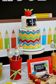 Gorgeous cake at a Back to School Party #backtoschool #partycake