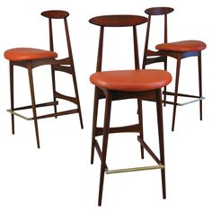Three Mid-Century Bar Stools by Adrian Pearsall | From a unique collection of antique and modern stools at https://www.1stdibs.com/furniture/seating/stools/
