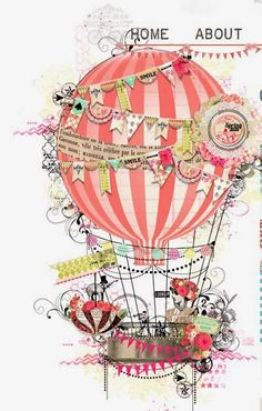 Tiny washi tape flags on the hot air balloons and use strawberry netting and ribbons and look for the tiny baskets early. Otherwise use dixie cups Balloon Illustration, Cute Illustration, Air Ballon, Hot Air Balloon, Zantangle Art, Illustrations, Wallpaper, Decoupage, Paper Crafts