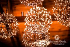 twinkle light globes at reception | Rustic Florida Wedding | Elizabeth Davis Photography