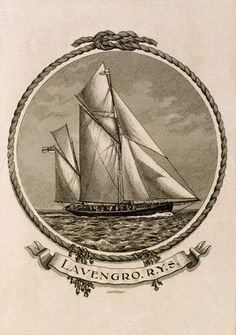 Bookplate of a yacht with rope border