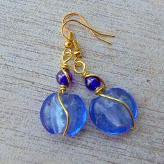 Hand Wired Blue Lampwork Glass Earrings