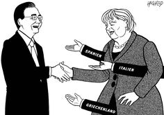 """Handshake of friendship"" - On her second visit of the year to China, on August 29-30, Angela Merkel is taking with her a delegation of German business leaders in an effort to help sign several commercial contracts between the two countries. But the German Chancellor should also encourage Beijing to ink some deals with Greece and Spain, as well as to boost Chinese investment in EU countries."