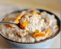 Peach and Ginger Chia Pudding / Choosing Raw - Roasted Peach and Ginger Chia Pudding (vegan, gluten free, soy free) Serves 4-6 3 ripe yellow peaches, halved and pitted 2-3 tbsp coconut crystals or cane sugar 2 tbsp coconut oil 3 1/4 cups almond milk (homemade or storebought) 1/2 cup cashews, soaked and drained 4-5 pitted medjool dates 1 tsp vanilla extract 1 tsp powdered ginger 1 tsp cinnamon 1/2 cup chia seeds