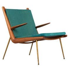 'Boomerang' Armchair Designed by Peter Hvidt and Orla Mølgaard-Nielsen | From a unique collection of antique and modern armchairs at https://www.1stdibs.com/furniture/seating/armchairs/