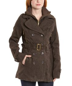 Look what I found on #zulily! Brown Tweed Layered Peacoat by Yoki #zulilyfinds