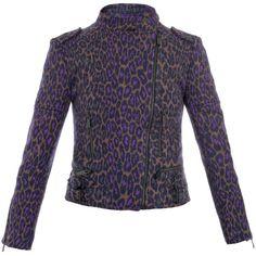 Christopher Kane Leopard print biker jacket ($980) ❤ liked on Polyvore