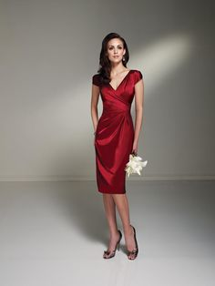 Modest V Neck Short Cap Knee Length Burgundy Mother of the Bride Dress